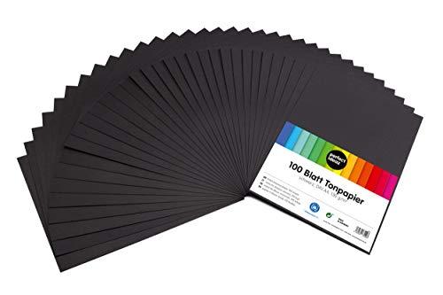 perfect ideaz 100 Blatt schwarzes DIN-A4 Ton-Papier, Ton-Zeichen-Papier schwarz, schwarze Blätter in 130g/m², Bastel-Bogen black, Zubehör-Set zum Basteln, Material durchgefärbt, DIY-Bedarf