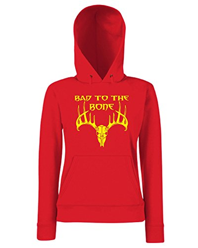 T-Shirtshock - Sweats a capuche Femme FUN0681 bad to the bone vinyl hunting car decal 04583 Rouge