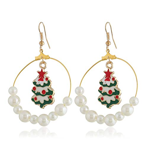 HKEPS Perlenohrringe Weihnachtsbaum Design Weihnachten Modeschmuck für Frauen -