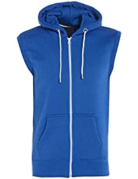 Abel New Mens Plain Zip Fasten Fleece Sleeveless Hoodie Gilet Sweatshirt Jacket