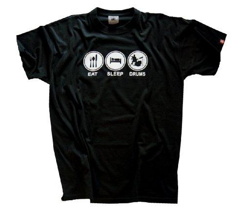 Shirtzshop Uni T-Shirt Eat Sleep Drum Drummer Schlagzeug, Schwarz, L - Eat Sleep Drum