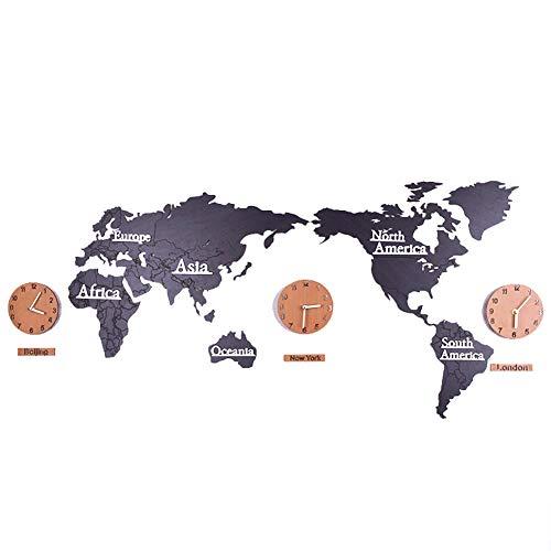 A-Orologi da parete XDLUK Numeri Grandi in Legno Mappa del Mondo Adesivi creativi Fai da Te Tempo Mondiale Orologi pensili Decorazione Domestica per Soggiorno Camera da Letto, Nero