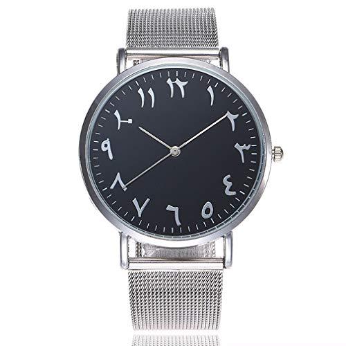 Altes arabisches Digital-Zifferblatt - Mesh Armband Uhren, Holeider Herren und Damen Klassisch Analog Quartz Edelstahl Uhr Armbanduhr (Schwarz)