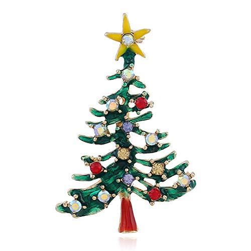 Sweet&rro17 Weihnachten Brosche Pin Strass Vintage Broschennadeln Bekleidungs Schmuck, Xmas Geschenk(Grüner Weihnachtsbaum)