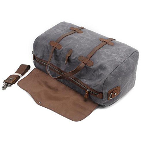Reisetaschen Canvas Daypacks, Weekender Tasche Retro Umhängetasche Herren Handgepäck Männer Reisetaschen Damen Tote Handtasche für Den Kurzurlaub(Schwarz) Grau