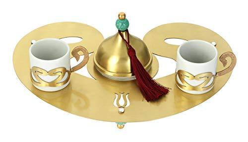 Traditionelles Gold Türkisches Kaffeeservice, 3-teilig, vergoldet über Kupfer