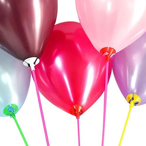 Ballon Sticks Halter, 100 SäTze Luftballon ZubehöR Mit Cups, Multicolor-Kunststoff-Lange Ballon-StäBe FüR Bouquet, Party, Festival, Hochzeit, Geburtstag, 12 Zoll Hohe Beanspruchung FüR GroßE Ballon