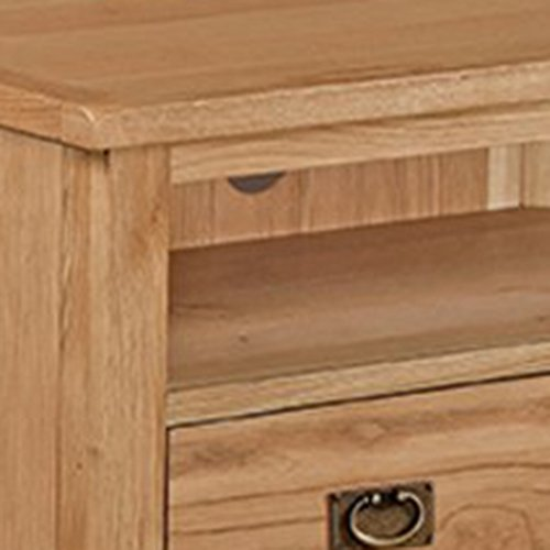 Roseland Furniture Surrey Oak Light Honey Waxed Corner TV Unit, Brown