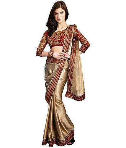 B Bella Creation Women's Satin Saree With Blouse Piece (Bbella003_Gold)