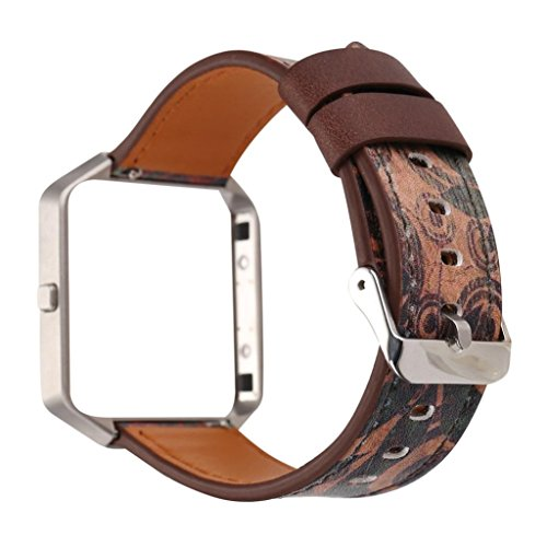 Fashion Leather Strap Replacement WatchBand&Frame Holder Shell For Fitbit Blaze,Motivator and Activity Tracker Sport Accessory Wristband Watch Smart Watch Jimmkey (wrist 150-225MM, A)