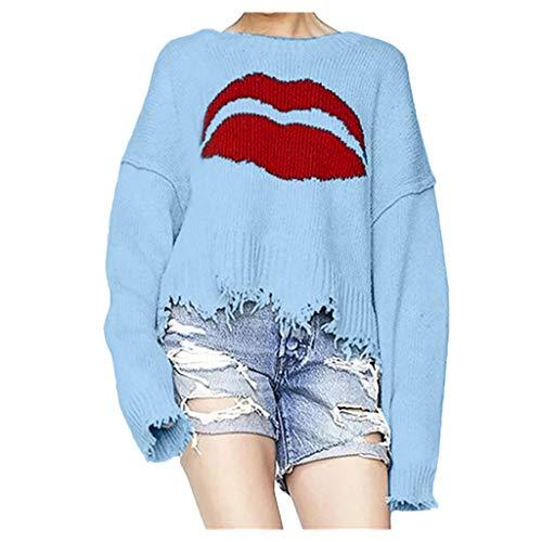 MEIbax Damen Langarm Lippen Strickpullover Tops Übergroße O-Ausschnitt Femme Pullover Bluse Lose Gestrickte Sweatshirt (Blau Stricken Pyjama)