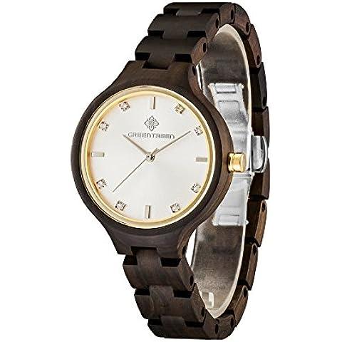 Greentreen legno Guarda Lady dimensione diamanti orologi da polso in oro design - Professionale Orologio Al Quarzo