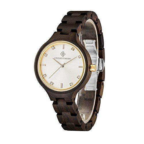 Womens legno polso con diamanti in legno su misura Orologi da polso per le donne in legno di sandalo nero orologio da donna in oro Super Light For Sale