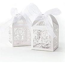 PONATIA 50 PCS amor corazón amor pájaros corte láser de dulces cajas de regalo con el