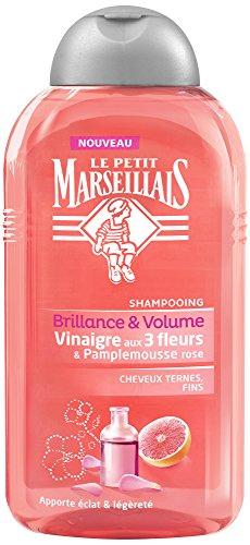 Le Petit Marseillais Shampoing Cheveux Ternes Fins/Vinaigre de 3 Fleurs & Pamplemousse Rose Flacon de 250 ml