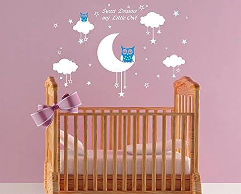 BDECOLL Bébé Chouette sur lune et étoile Stickers muraux oiseaux 2 x Hibou mignon Chambre Decor garçons filles Chambre Décoration Mur Art (blue)