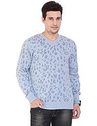 TAB91 Men's Cotton Rich Blue V Neck Pullover