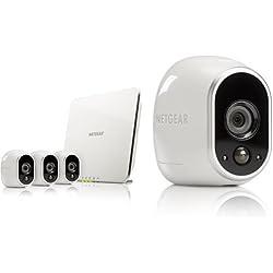 ARLO by NETGEAR - Kit de surveillance 100% sans fil , 5 caméras HD incluses, vision nocturne, étanches intérieur/extérieur, fixations aimantées fournies