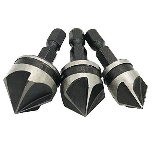 JTENG 3 pcs Senker WS 6.35 kant ø 12mm / 16mm / 19mm Senkbohrung Set 1/4 Zoll Hex Fase 5 Flöte Quick Change Bits