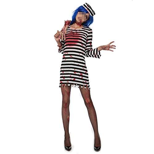 Weiß Gefangenen Und Schwarz Kostüm - KODH Weibliche Halloween Terrorist gefangener kostüm Erwachsene weibliche schwarz und weiß gestreiften gefangenen Kleidung kreative Geist Kleidung Cosplay Zombie kostüm for Maskerade