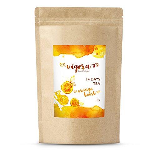 Detox Tee von Vigera - Orange Boost - empfohlen zu deiner 14 Tage Detox Kur - Hergestellt in Deutschland- 100g im Aromaschutz Beutel