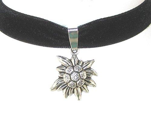 Münchner Glitzerwelt - Fascia da testa, altezza 13 mm, con ciondolo a forma di stella alpina, colore: nero, ottone, colore: nero, cod.