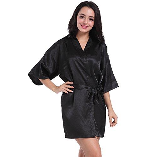 Mujer Pijamas kimono satén puro Color Corto Estilo