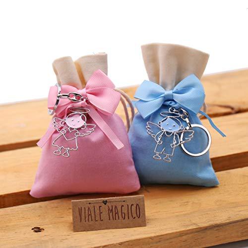 Bomboniere battesimo comunione bimbi angioletti con cuore portachiavi confezionati su sacchetto kit 10 pz celeste