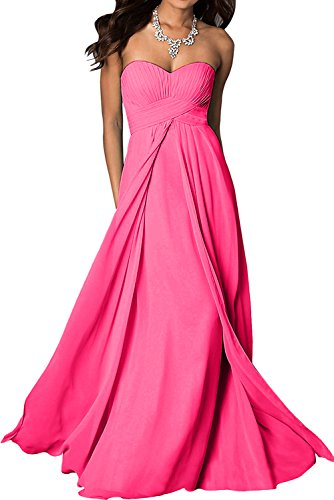 TOSKANA BRAUT Festlich 2017 Traegerlos Chiffon Promkleider Bodenlang Neu  Damenkleid Abendkleider Partykleider Pink