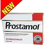 Prostamol - Complément alimentaire à base de SERENOA REPENS - Fonction Urinaire Homme - SANS GLUTEN - Boite de 30 Capsules Molles