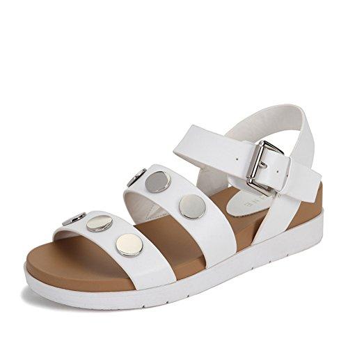 La Dame A Frappé Les Semelles épaisses Des Chaussures Des Femmes,Décoration Metal Ludique, Avec Open-toe Sandals B