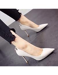 FLYRCX La primavera y el verano, personalidad de la moda zapatos de tacón zapatos de cuero con boca superficial...