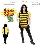Biene Kleid 1 tlg. Plüsch Damen Fasching Kostüm mit Flügeln Gr. 50