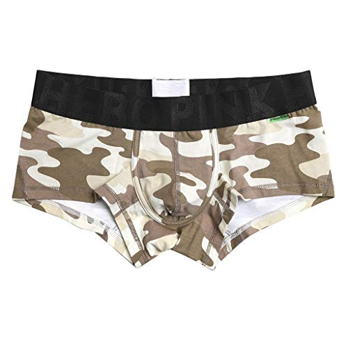 Crazboy Neue Camouflage-Unterwäsche für Herren Weiche, atmungsaktive Unterhosen Kurze, sexy Boxershorts(Large,Beige) -