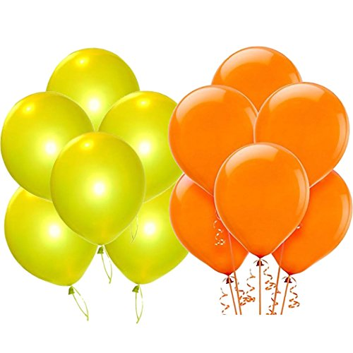 Solid Metallic Balloons (Yellow, Orange Pack of 50) FREE Banner