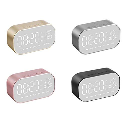 Bluetooth Lautsprecher mit Dual-Alarm,LED Digital Wecker, Wireless Super Bass Lautsprecher mit FM Radio/Aux/Micro SD/TF,Bluetooth4.2 mit Mikrofon für Smartphone & Laptop,Ipad,Tablet PC (Schwarz) (Dual Digital Wireless Mikrofon)