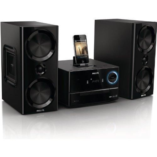 Philips DCM3020 Kompaktanlage (CD/MP3 Player, Apple iPod/ iPhone/ iPad Dock, 120 Watts, USB) schwarz - Cd-player Iphone-dock Mit
