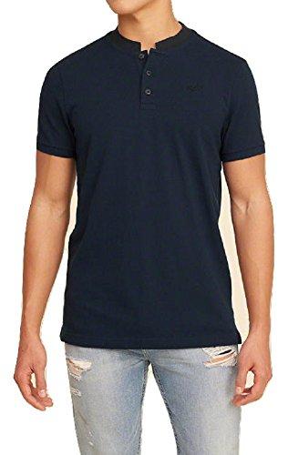 hollister-mens-polo-shirt-banded-collar-m-navy
