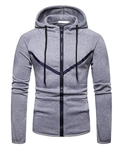 CuteRose Men's Hood Overcoat Cardi Full-Zip Long Sleeve Sweatshirts Light Grey M Lined Hooded Full Zip Sweatshirt