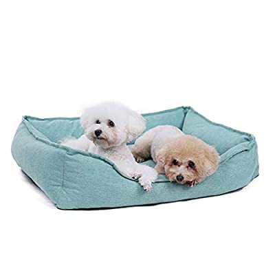 Ohana Square Chenille Dog Bed Wear-Resisting Pet Sofa Bed and Mattress with Non-Slip Bottom for All Breeds Dogs and Cats by OHANA