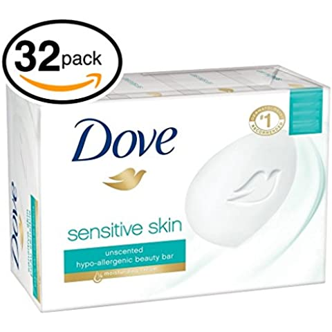 (PACK OF 32 BARS) Dove Unscented Beauty Soap Bar: SENSITIVE SKIN. Hypo-Allergenic & Fragrance Free. 25% MOISTURIZING LOTION & CREAM! Great for Hands, Face & Body! (32 Bars, 3.5oz Each Bar) by Dove