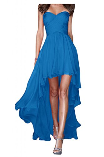 Gorgeous Bride Fashion Traegerlos Hi-Lo Chiffon Lang Abendkleider Festkleider Ballkleider Blau
