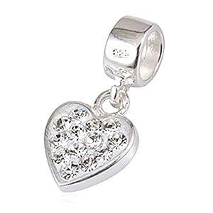 Andante-Stones 925 Sterling Silber Dangle Bead Charm Herz mit funkelnden AB Kristallsteinen – Element Kugel für European Beads Modul Armband + Organzasäckchen