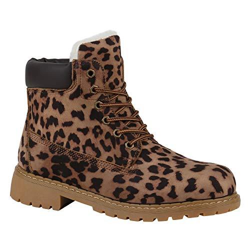 Stiefelparadies Warm Gefütterte Damen Worker Boots Stiefeletten Outdoor 172580 Leopard 36 ()