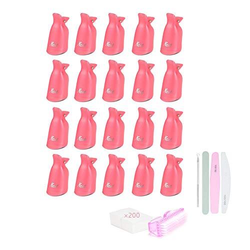 Locisne Nagellack Gel Remover Wrap Kit mit 20 Nagelclip-Kappen 200 Nagelwattepads 1 Nagelhautschieber 1 Nagelbürste 3 Doppelseitige Nagelfeile