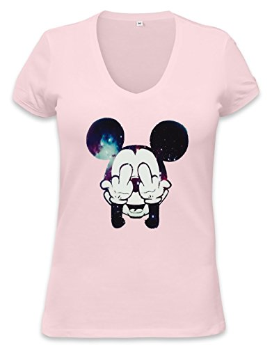 Mickey Mouse Fuck Off Womens V-neck T-shirt Small (Mouse Beanie Mickey)