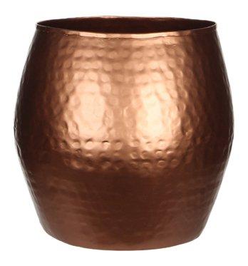 Übertopf Malu 231265, Höhe 20 cm, Durchemesser 21,6 cm, Metall gehämmert kupferfarben