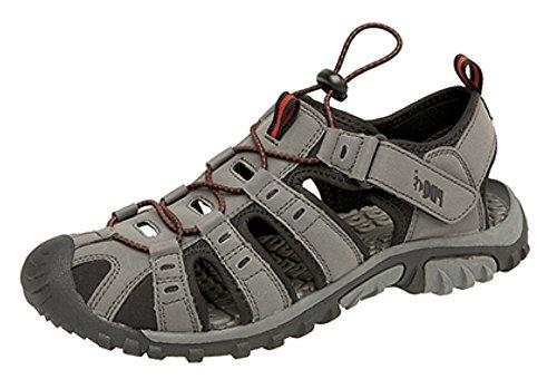 Herren PDQ Knebelknopf & Klettverschluss Sport Trail Sandalen Dark Grey/Red