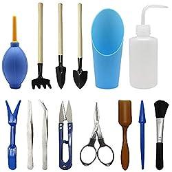 homagty 14Pcs Mini Garden Umpflanzen Tools Set, Kleine Garten-Werkzeuge für vollmundigen Pflege Oder Innen Miniatur Fairy Garden Plant Care