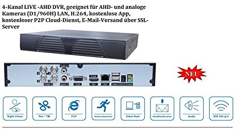 4Kanal DVR Live H.264 960H+D1 DVR + Softwarepaket LAN, H.264, kostenlose App, kostenloser P2P Cloud-Dienst, E-Mail-Versand